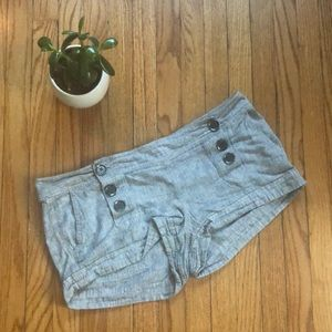 Express grey/white knit button from shorts